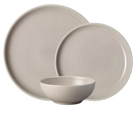 675431114209 Intro Warm Taupe 12 Piece Tableware Set